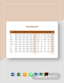 Payroll Worksheet Template