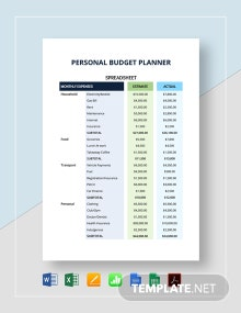 Personal Budget Planner Spreadsheet Template