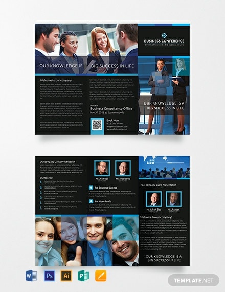 Free Conference A3 Tri-Fold Brochure Template
