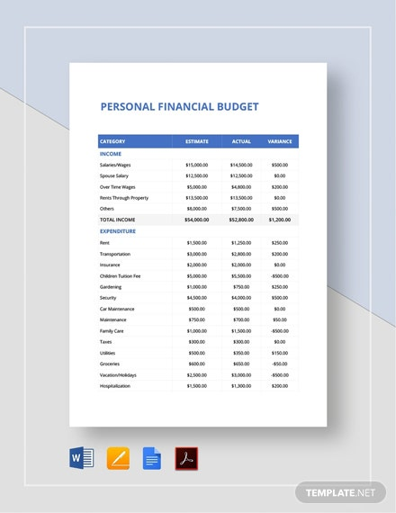 Personal Finance Budget Spread Sheet Template