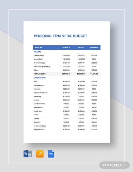 personal finance budget spread sheet