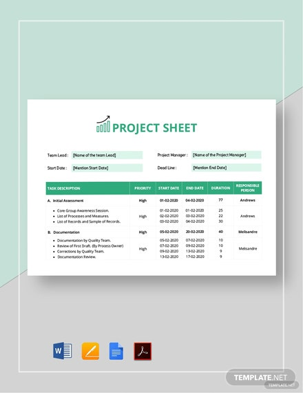 Project Sheet Template
