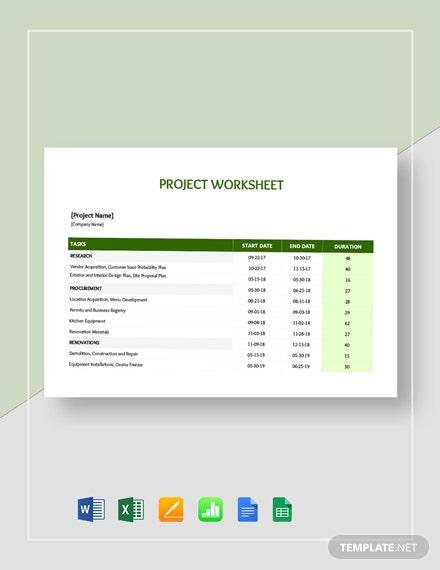 Project Worksheet Template
