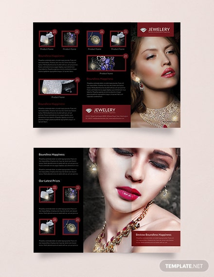 Free Designed Jewelry Tri Fold Brochure Template