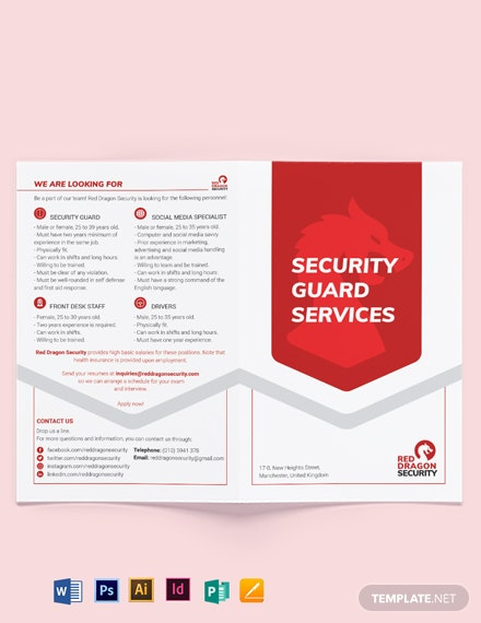 Security Guard Services Bi-Fold Brochure Template