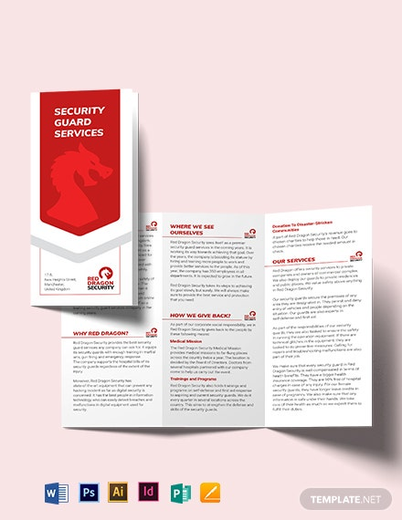 Security Guard Services Tri-Fold Brochure Template