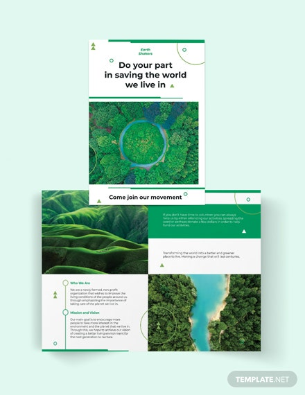 Environmental Conservation Bi-Fold Brochure Template