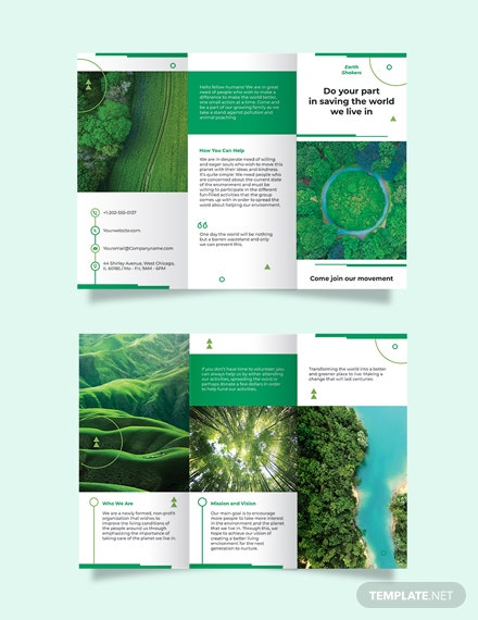 Environmental Conservation Tri-Fold Brochure Template