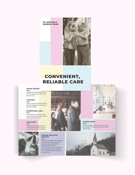 Nursing Home Care Bi-Fold Brochure Template