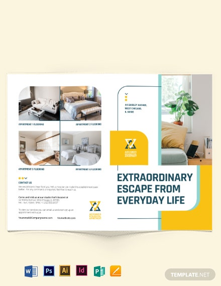 Residential Apartment Bi-Fold Brochure Template