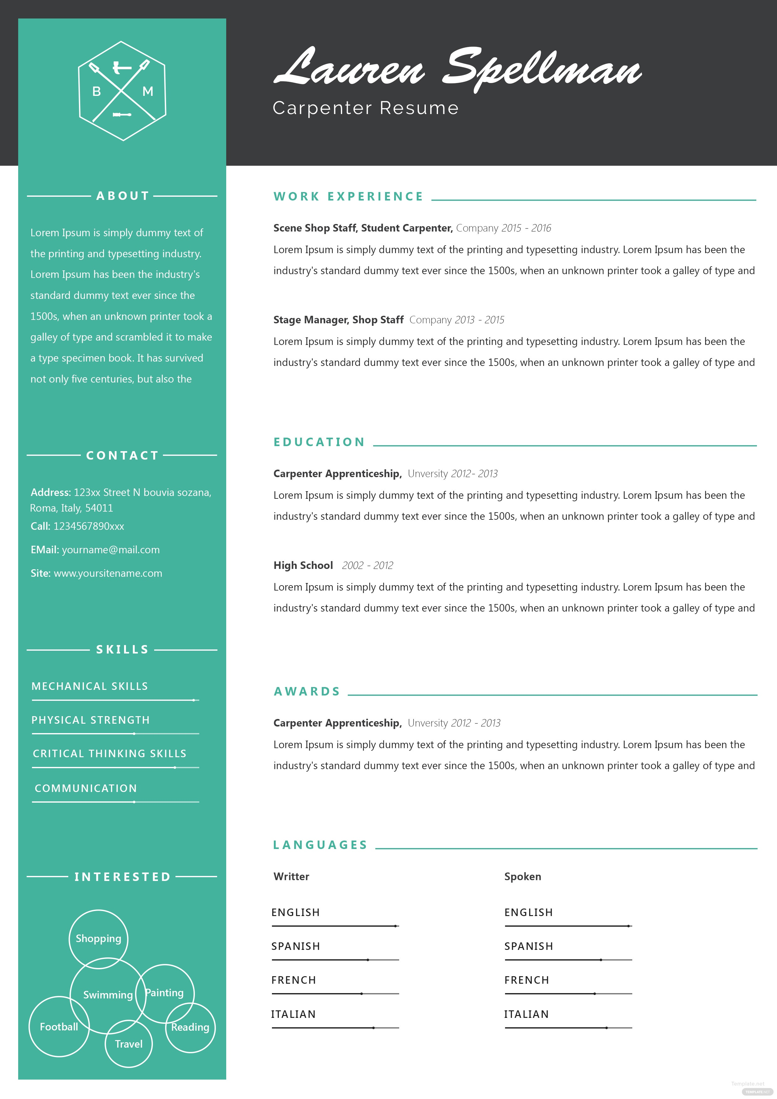 free sample carpenter resume and cv template in adobe photoshop  microsoft word  publisher