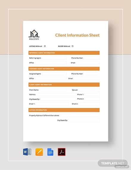 Real Estate Client Information Sheet Template