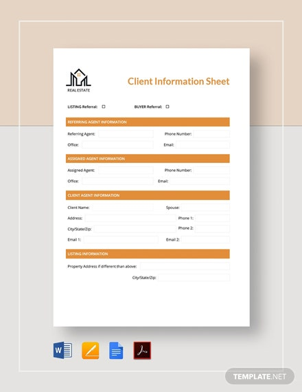 Real Estate Client Information Sheet