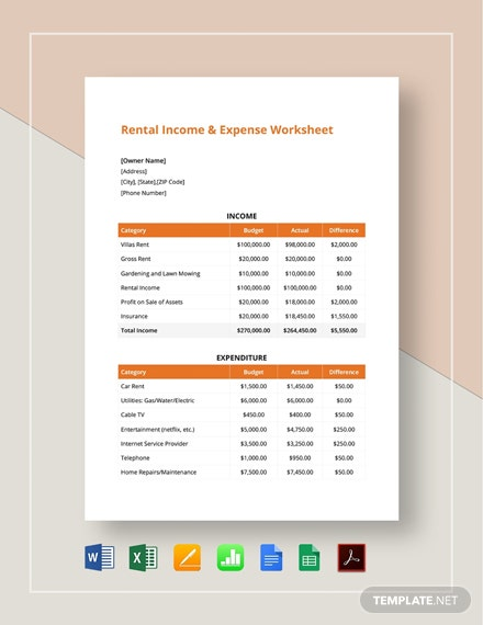 Rental Income & Expense Worksheet Template