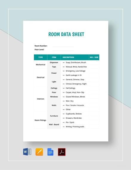 Room Data Sheet Template