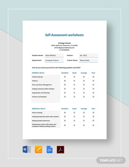 Self-Assessment Worksheets Template
