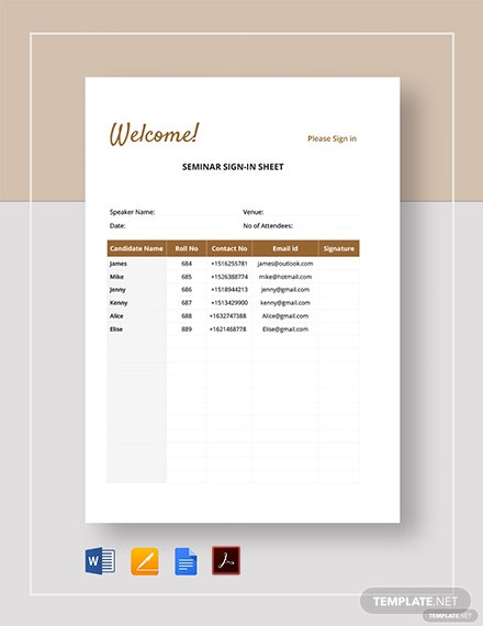 Seminar Sign-in sheet Template