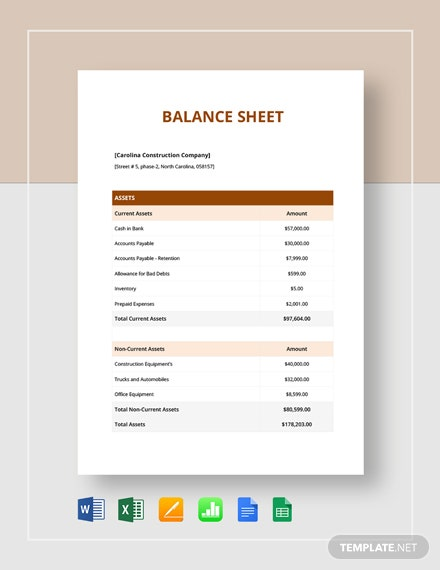 Simple Balance Sheet Template