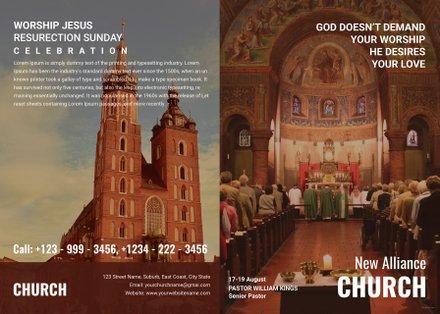Free Modern Church A4 Brochure Template