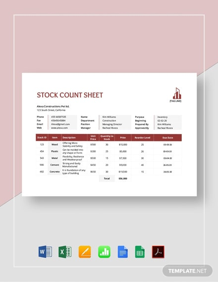 Stock Count Sheet Template