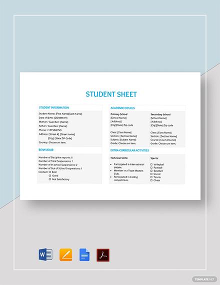 Student Sheet Template