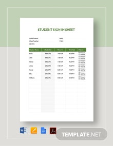 Student Sign-in Sheet Template