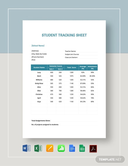 Student Tracking Sheet