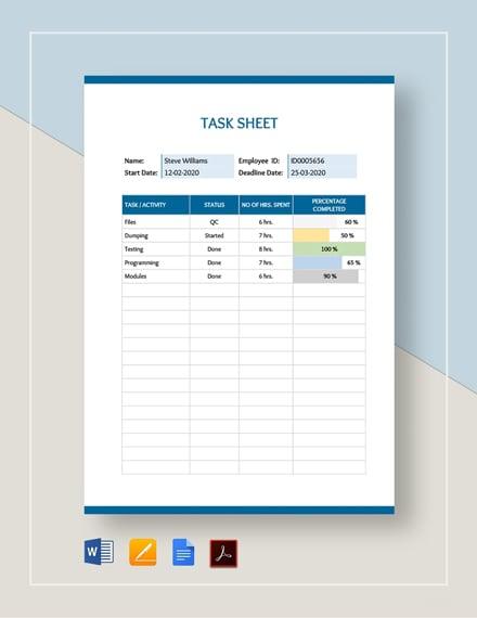 Task Sheet Template