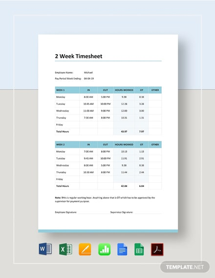 2 Week Timesheet Template
