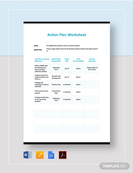 Action Plan Work Sheet