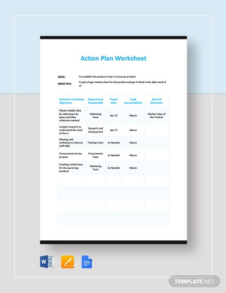 Action Plan Work Sheet Template