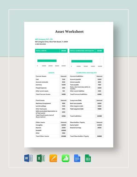 Asset Worksheet Template
