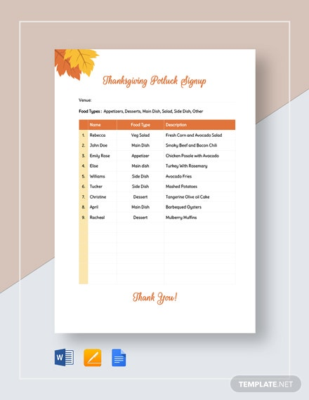 Thanksgiving Potluck Signup Sheet Template