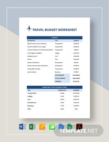 Travel Budget Worksheet Template