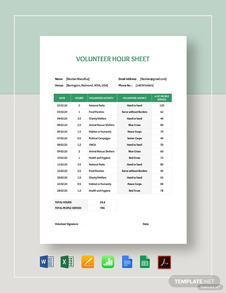 Volunteer Hours Sheet Template