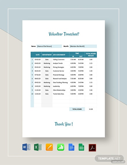 Volunteer Timesheet Template