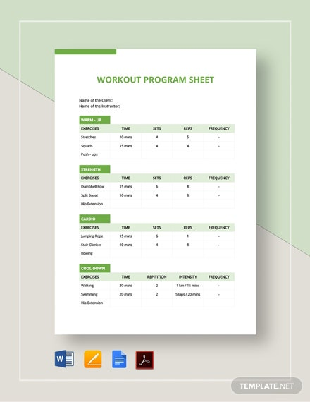 Workout Program Sheet Template