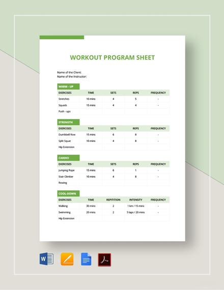 Workout Program Sheet Template