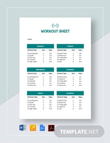 Workout Sheet Template