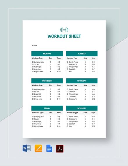 Workout Sheet Template