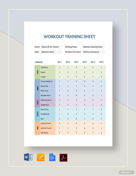 Workout Training Sheet Template