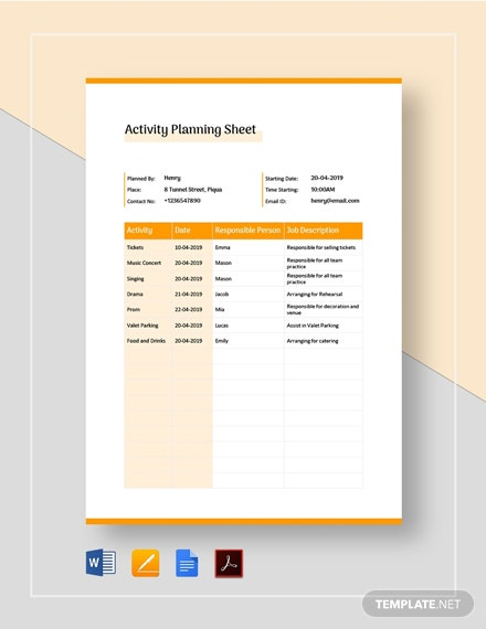 Activity Planning Sheet Template