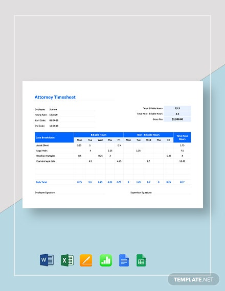 Attorney Timesheet Template