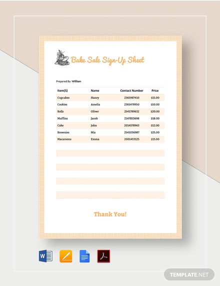 Bake Sale Sign-up Sheet Template