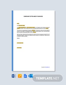 Free Complaint Letter About Your Boss Template