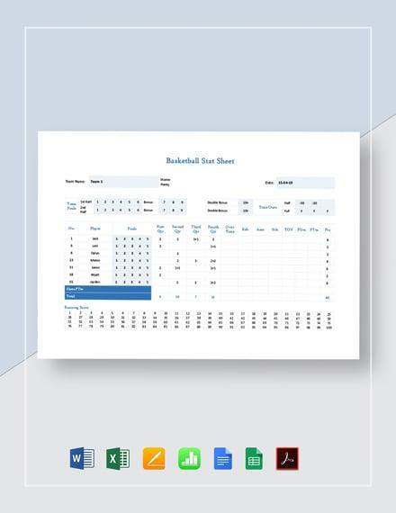 Basketball Stat Sheet Template