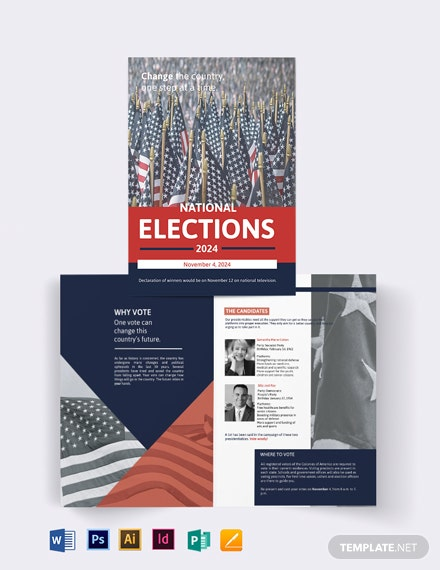 Election Campaign Bi-Fold Brochure Template
