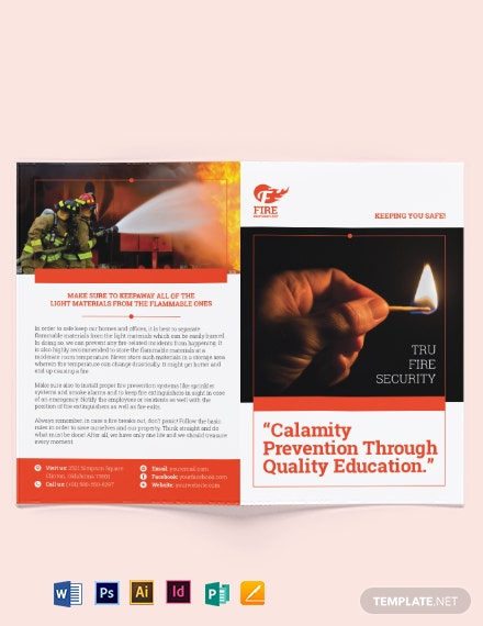 fire safety bi fold brochure
