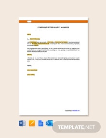 Free Complaint Letter Against Manager Template