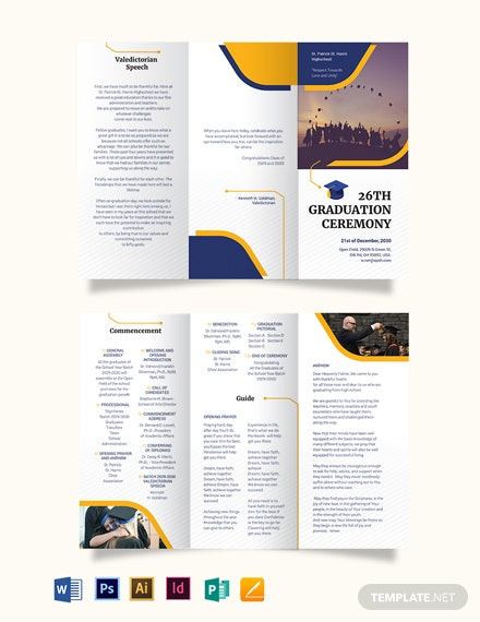 Graduation Tri-Fold Brochure Template